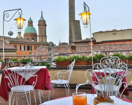 Tasty breakfast on the panoramic terrace of the Best Western Hotel San Donato