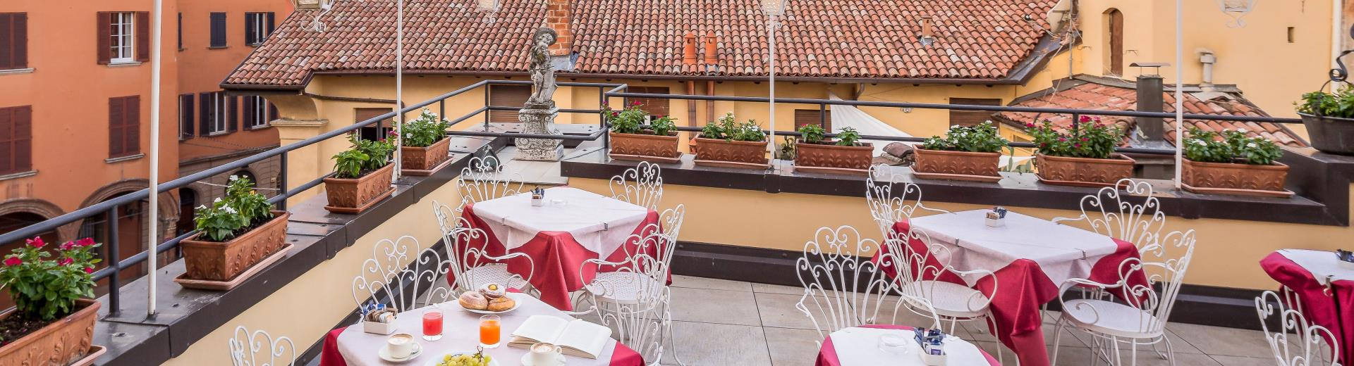 The terraces of the BW Hotel San Donato 4-star in the center of Bologna