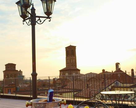 Enjoy a drink on the rooftop terrace of the Best Western Hotel San Donato overlooking Bologna