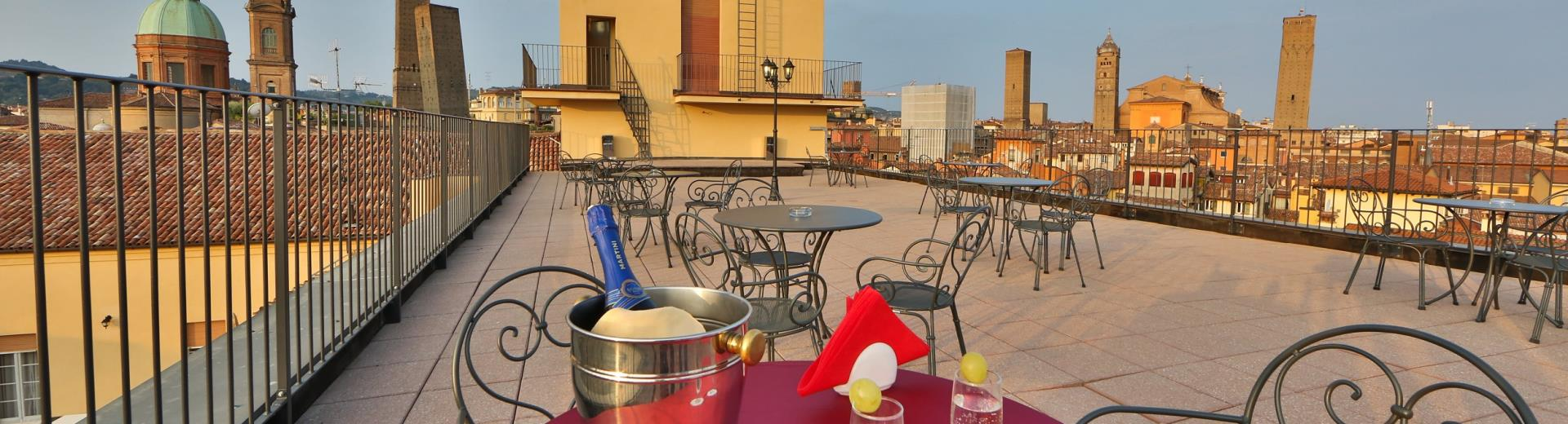 Sipping an aperitif on the terrace of the best Western Hotel San Donato Bologna